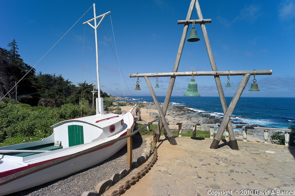 Boat on land he loved to have drinks in, Pablo Neruda's house in Isla Negra, Chile