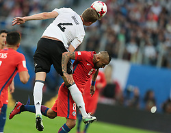 July 2, 2017 - Saint Petersburg, Russia - Matthias Ginter (L) of the Germany national football team and Arturo Vidal of the Chile national football team vie for the ball during the 2017 FIFA Confederations Cup final match between Chile and Germany at Saint Petersburg Stadium on July 02, 2017 in St. Petersburg, Russia. (Credit Image: © Igor Russak/NurPhoto via ZUMA Press)