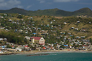 An aerial view of the town of Dennery on the east coast of St Lucia, The Windward Islands, The Caribbean