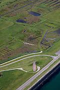 Nederland, Zeeland, Schouwen, 12-06-2009; Burgh-Haamsteden, Plompetoren aan de rand van de Oosterschelde en de Kouderkerksche Inlaag. Een inlaag, een strook land achter de zeedijk, ontstaat door het aanleg van een twee dijk, landinwaarts.  .Deze reservedijk of inlaagdijk, moest het achterliggend land beschermen tegen eventuele dijkdoorbraak van de zeedijk..Swart collectie, luchtfoto (25 procent toeslag); Swart Collection, aerial photo (additional fee required).foto Siebe Swart / photo Siebe Swart