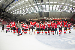Team HDD Jesenice saluting fans after winning national championship in ice hockey match between HDD SIJ Acroni Jesenice and HDD Telemach Olimpija in 4th leg of Finals of Slovenian National Championship 2014/2015, on April 15, 2015 in Podmezakla, Jesenice, Slovenia. Photo by Grega Valancic / Sportida