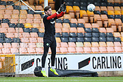 Forest Green Rovers goalkeeper James Montgomery warming up during the EFL Sky Bet League 2 match between Port Vale and Forest Green Rovers at Vale Park, Burslem, England on 23 March 2019.