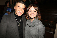 LONDON - December 17:<br />  Jahmeqne Douglas and Gabrielle Aplin performers at The Nordoff Robbins Christmas Carol Concert.<br /> 17, 12, 2013.<br /> St Luke's, London, United Kingdom<br /> (Photo  John Marshall/JM Enternational)