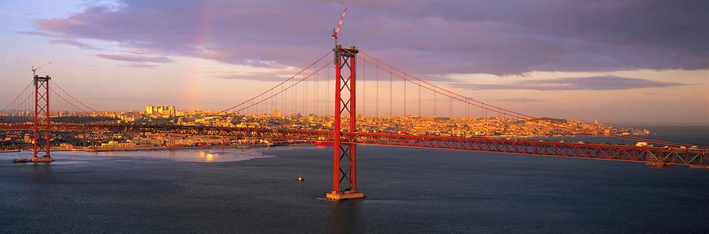 PORTUGAL, LISBON Ponte 25 de Abril, finished in 1966, one of the world's longest suspension bridges crosses the Tagus River