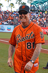 SAN FRANCISCO, CA - MAY 16:  Recording artist James Hetfield of the rock band Metallica walks off the field after performing the national anthem before the game between the San Francisco Giants and the Miami Marlins at AT&T Park on May 16, 2014 in San Francisco, California.  The Miami Marlins defeated the San Francisco Giants 7-5.  (Photo by Jason O. Watson/Getty Images) *** Local Caption *** James Hetfield