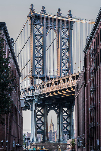 View of the Manhattan bridge with inset of the Empire State building