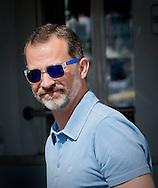 Palma de Mallorca, 03-08-2015<br /> <br /> King Felipe arrives at the Copa del Rey Sailing contest.<br /> <br /> Royalportraits Europe/Bernard Ruebsamen