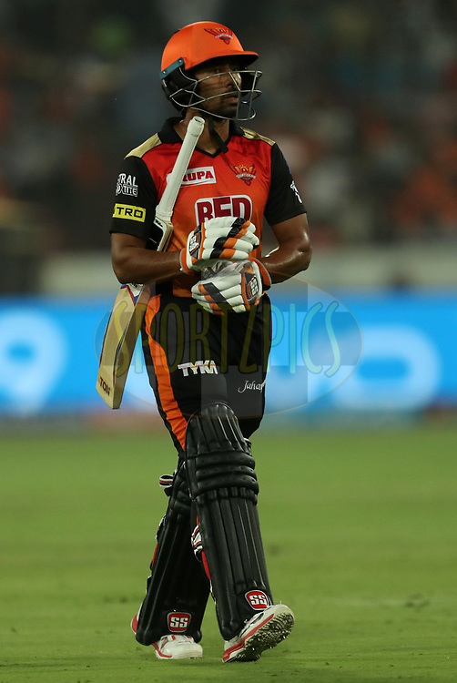 Wriddhaman Saha of Sunrisers Hyderabad walks back during match twenty five of the Vivo Indian Premier League 2018 (IPL 2018) between the Sunrisers Hyderabad and the Kings XI Punjab  held at the Rajiv Gandhi International Cricket Stadium in Hyderabad on the 26th April 2018.<br /> <br /> Photo by: Prashant Bhoot /SPORTZPICS for BCCI