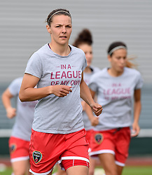 Bristol Academy's Loren Dykes warms up before the FA Women's Super League game between Bristol Academy Women and Manchester City Women on 18 July 2015 in Bristol, England - Photo mandatory by-line: Paul Knight/JMP - Mobile: 07966 386802 - 18/07/2015 - SPORT - Football - Bristol - Stoke Gifford Stadium - Bristol Academy Women v Manchester City Women - FA Women's Super League