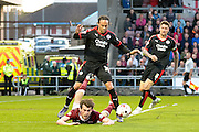 `n27 appeals for a penalty during the Sky Bet League 2 match between Northampton Town and Crawley Town at Sixfields Stadium, Northampton, England on 19 April 2016. Photo by Dennis Goodwin.