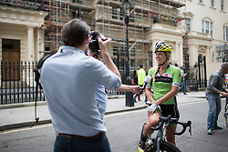 Alison Tetrick (USA) of Cylance Pro Cycling gives a quick interview before the start of the Prudential RideLondon Classique, a 66 km road race in London on July 30, 2016 in the United Kingdom.
