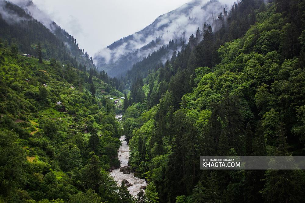 View of Parvati River from Nakthan in Kullu, Himachal Pradesh, India