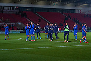 AFC Wimbledon players clap the away fans after the The FA Cup match between Doncaster Rovers and AFC Wimbledon at the Keepmoat Stadium, Doncaster, England on 19 November 2019.