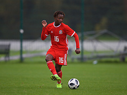 NEWPORT, WALES - Monday, October 14, 2019: Wales' Tivonge Rushesha during an Under-19's International Friendly match between Wales and Austria at Dragon Park. (Pic by David Rawcliffe/Propaganda)