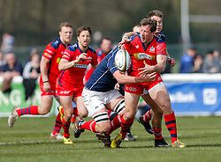 Bristol Rugby Outside Centre Tommaso Benvenuti is tackled - Mandatory byline: Rogan Thomson/JMP - 02/04/2016 - RUGBY UNION - Richmond Athletic Ground - London, England - London Scottish v Bristol Rugby - Greene King IPA Championship.