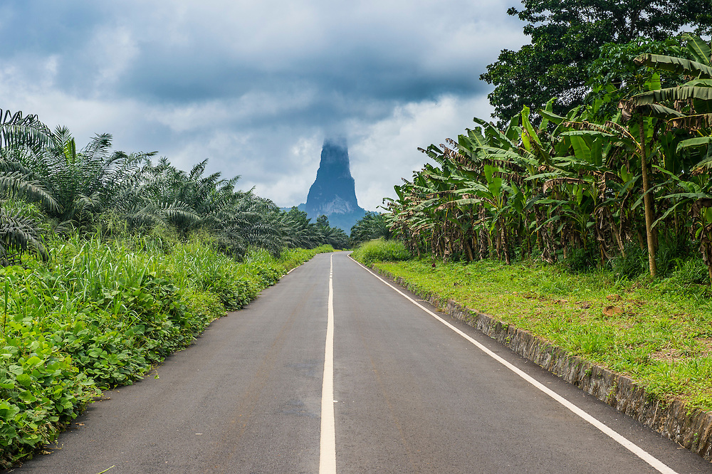 Road leading to the unusal monolith, Pico Cao Grande, east coast of Sao Tome, Sao Tome and Principe, Atlantic Ocean