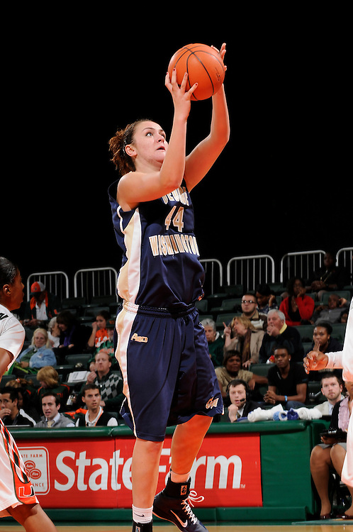 December 28, 2010: Sara Mostafa of the George Washington Colonials in action during the NCAA basketball game between GWU and the Miami Hurricanes. The 'Canes defeated the Colonials 83-62.