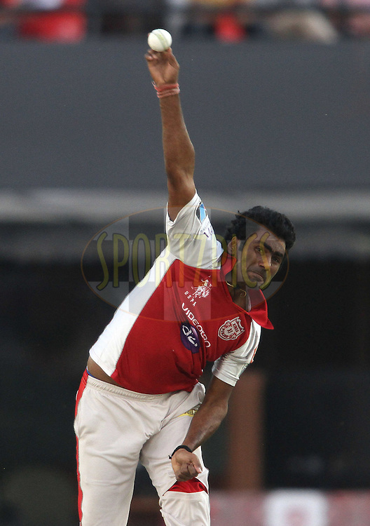 Parvinder Awana of the Kings XI Punjab sends down a delivery during match 33 of the the Indian Premier League (IPL) 2012  between The Kings X1 Punjab and The Mumbai Indians held at the Punjab Cricket Association Stadium, Mohali on the 25th April 2012..Photo by Shaun Roy/IPL/SPORTZPICS