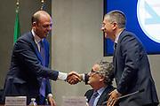 Rome dec 15th 2015, Direzione Investigativa Antimafia (Anti-Mafia Investigations Bureau) annual report. In the picture Angelino Alfano, Franco Roberti, Nunzio Antonio Ferla