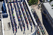 JINAN, CHINA - SEPTEMBER 05: (CHINA OUT) <br /> <br /> Pupils Do Morning Exercises On Rooftop<br /> <br /> 150 pupils do morning exercises at the rooftop of a multiple-use building on September 5, 2014 in Jinan, Shandong province of China. Yang Xingyong, the principal of a primary school, explained that the rooftop of the multiple-use building was designed to be a playground and denied that the school had recruited overmuch student. <br /> ©Exclusivepix