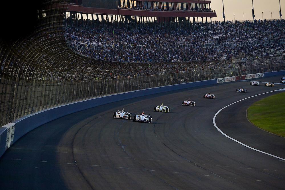 Helio Castroneves, Juan Pablo Montoya, Auto Club Speedway, Fontana, CA USA 8/30/2014