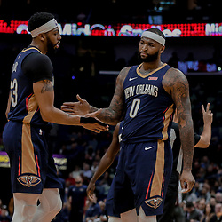 Dec 29, 2017; New Orleans, LA, USA; New Orleans Pelicans forward Anthony Davis (23) and center DeMarcus Cousins (0) during the first quarter against the Dallas Mavericks at the Smoothie King Center. Mandatory Credit: Derick E. Hingle-USA TODAY Sports