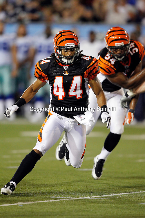 Cincinnati Bengals safety Rico Murray (44) chases the play during the NFL Pro Football Hall of Fame preseason football game between the Dallas Cowboys and the Cincinnati Bengals on Sunday, August 8, 2010 in Canton, Ohio. The Cowboys won the game 16-7. (©Paul Anthony Spinelli)