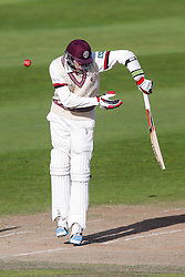 Jamie Overton of Somerset in action - Mandatory byline: Rogan Thomson/JMP - 07966 386802 - 24/09/2015 - CRICKET - The County Ground - Taunton, England - Somerset v Warwickshire - Day 3 - LV= County Championship Division One.