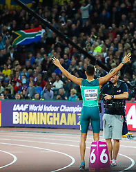 London, August 08 2017 . Wayde van Niekerk, South Africa, celebrates his world championship winning run in the men's 400m final on day five of the IAAF London 2017 world Championships at the London Stadium. © Paul Davey.