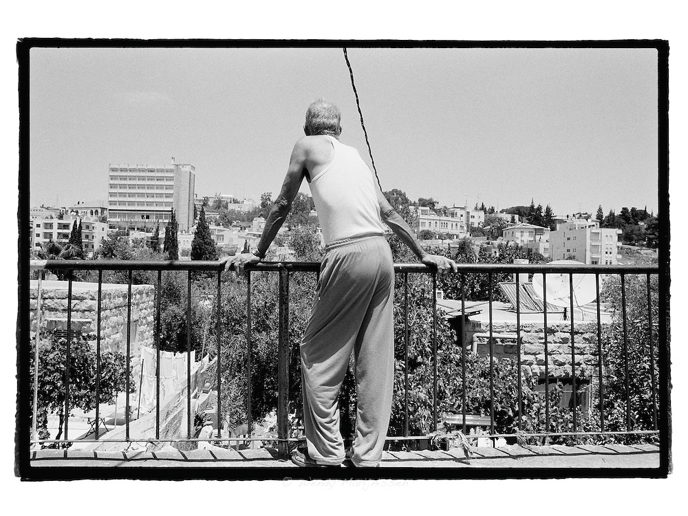 A man from the Sheikh Jarrah neighbourhood is looking down on part of the area where two Palestinian families were recently evicted from their homes and now living on the streets. More families are awaiting a court decision and could await the same faith later on in the year.