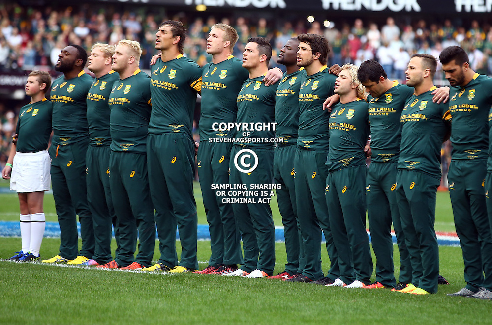 DURBAN, SOUTH AFRICA, 8 October, 2016 - General view of South Africa singing the national anthem during the Rugby Championship match between South Africa and New Zealand at Kings Park in Durban, South Africa. (Photo by Steve Haag)