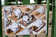 Roma, 19 Settembre  2014<br /> Manifestazione  contro  ISIS ( Stato Islamico).<br /> Uno striscione con la scritta: &quot;ISIS non &egrave; Islam&quot; esposto da un gruppo di italiani ed immigrati davanti alla Moschea Grande  di Roma, durante la preghiera del Venerdi. Disegni di  artisti siriani contro ISIS.<br /> Rome, 19 September 2014 <br /> Demonstration against ISIS (Islamic State). <br /> A banner with the inscription: &quot;ISIS is not Islam&quot; exhibited by a group of Italian and immigrants  in front of the Grand Mosque of Rome, during prayers on Friday. Drawings of Syrian artists against ISIS.