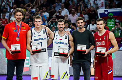 Best 5 players: Pau Gasol of Spain, Luka Doncic of Slovenia, Goran Dragic of Slovenia, Aleksei Shved of Russia and Bogdan Bogdanovic of Serbia celebrating at Trophy ceremony after winning during the Final basketball match between National Teams  Slovenia and Serbia at Day 18 of the FIBA EuroBasket 2017 when Slovenia became European Champions 2017, at Sinan Erdem Dome in Istanbul, Turkey on September 17, 2017. Photo by Vid Ponikvar / Sportida
