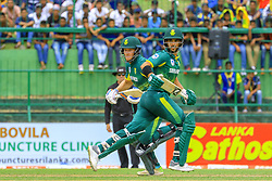 August 5, 2018 - Kandy, Sri Lanka - South African cricketers Jean-Paul Duminy, David Miller run between the wickets  during the 3rd One Day International cricket match between Sri Lanka and South Africa at Pallekele International Cricket Stadium, Kandy , Sri Lanka on Sunday 5 th August 2018  (Credit Image: © Tharaka Basnayaka/NurPhoto via ZUMA Press)