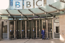 Nigel Farage leader of the Brexit Party Leaving the BBC in London after appearing on the Andrew Marr show. <br /> <br /> Richard Hancox   EEm 12052019