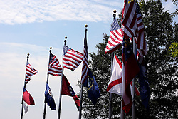 July 2007: The flags of seven states fly at Rock City at a point where you can see all 7 corresponding states on a clear day. Attractions near Chattanooga Tennessee.  Rock City - Lookout Mountain, Ga.