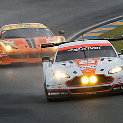 LMGTE Am-ASTON MARTIN RACING, Aston Martin Vantage V8, Drivers, Christoffer Nygaard (DNK), Kristian Poulsen (DNK), Allan Simonsen (DNK), LMGTE Am-8 STAR MOTORSPORTS, Ferrari F458 Italia, Vicente Potolicchio (VEN), Rui Aguas (PRT), Philipp Peter (AUT),<br /> Image taken during free practice and qualifying at the 90th Le Mans 24hrs at the Circuit de la Sarthe, Le Mans, France on the 20th June 2013.<br /> <br /> WAYNE NEAL | SPORTPIX.ORG.UK