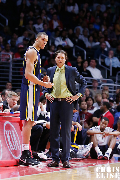 17 October 2014: Utah Jazz head coach Quin Snyder talks to Utah Jazz center Rudy Gobert (27) during the Los Angeles Clippers 101-97 victory over the Utah Jazz, in a preseason game, at the Staples Center, Los Angeles, California, USA.