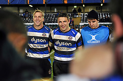 Sam Burgess of Bath Rugby looks on in a post-match huddle - Photo mandatory by-line: Patrick Khachfe/JMP - Mobile: 07966 386802 12/12/2014 - SPORT - RUGBY UNION - Bath - The Recreation Ground - Bath Rugby v Montpellier - European Rugby Champions Cup