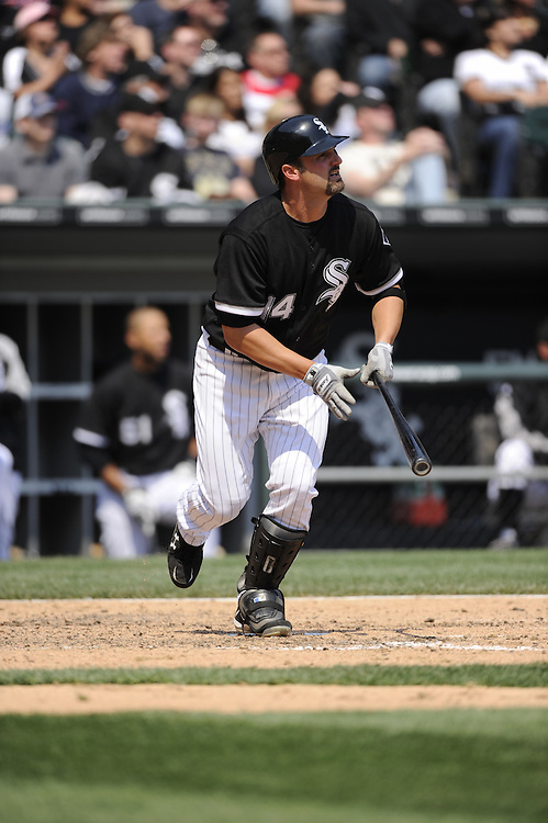 CHICAGO - APRIL 10:  Paul Konerko #14 of the Chicago White Sox bats against the Minnesota Twins on April 10, 2010 at U.S. Cellular Field in Chicago, Illinois.  The Twins defeated the White Sox 2-1.  (Photo by Ron Vesely)