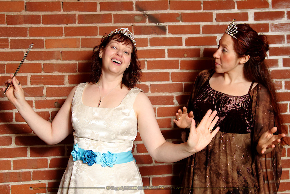 """Tamra Francis as Ashley Pelt (left) and Jenne Rebbin Shaw as Kisa (the cat) during Mayhem & Mystery's rehearsal of """"Fairy Tale Facade"""" at the Spaghetti Warehouse in downtown Dayton, Sunday, September 6, 2014."""