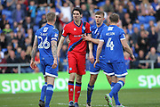 Peter Vincenti and Peter Clarke clash  during the EFL Sky Bet League 1 match between Oldham Athletic and Rochdale at Boundary Park, Oldham, England on 22 April 2017. Photo by Daniel Youngs.