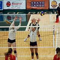 2nd year middle blocker Brooklyn Reynolds (10) of the Regina Cougars in action during Women's Volleyball home opener on October 20 at Centre for Kinesiology, Health and Sport. Credit: Casey Marshall/Arthur Images