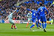 Pedro (11) of Chelsea shoots at goal during the Premier League match between Cardiff City and Chelsea at the Cardiff City Stadium, Cardiff, Wales on 31 March 2019.