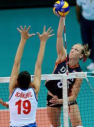 01-10-2014 ITA: World Championship Volleyball Servie - Nederland, Verona<br /> Nederland verliest met 3-0 van Servie en is kansloos voor plaatsing final 6 / Tijana Boskovic, Judith Pietersen