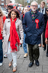 © Licensed to London News Pictures. 12/12/2019. London, UK. Labour Party Leader Jeremy Corbyn and his wife Laura Alvarez walk to Pakeman Primary School in North London to vote in the 2019 General Election. Photo credit: Rob Pinney/LNP