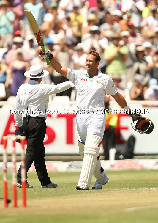 Jacques Kallis celebrates his century during Day 2 of the third and final Test between South Africa and India played at Sahara Park Newlands in Cape Town, South Africa, on 2 January 2011. Photo by Jacques Rossouw / MONSOON MEDIA