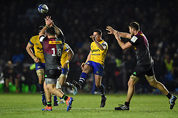 Freddie Burns of Bath Rugby puts boot to ball - Mandatory byline: Patrick Khachfe/JMP - 07966 386802 - 23/11/2019 - RUGBY UNION - The Twickenham Stoop - London, England - Harlequins v Bath Rugby - Heineken Champions Cup