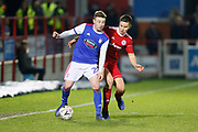 Ipswich Town forward Freddie Sears (20) shields the ball from Accrington Stanley defender Callum Johnson (2)  during the The FA Cup 3rd round match between Accrington Stanley and Ipswich Town at the Fraser Eagle Stadium, Accrington, England on 5 January 2019.