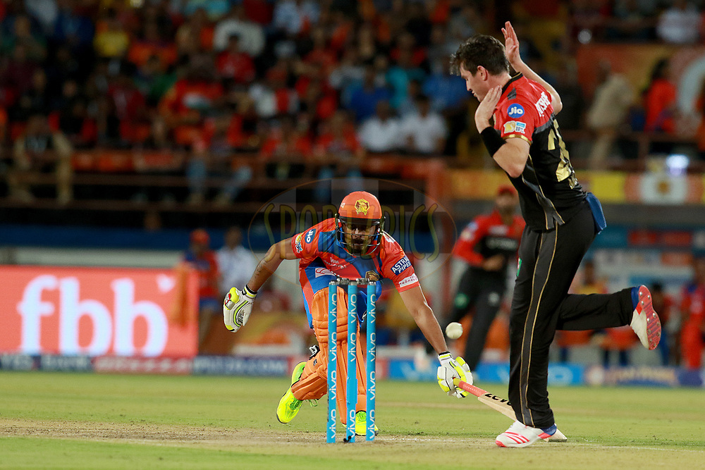Ravindra Jadeja of GLduring match 20 of the Vivo 2017 Indian Premier League between the Gujarat Lions and the Royal Challengers Bangalore  held at the Saurashtra Cricket Association Stadium in Rajkot, India on the 18th April 2017<br /> <br /> Photo by Rahul Gulati - Sportzpics - IPL